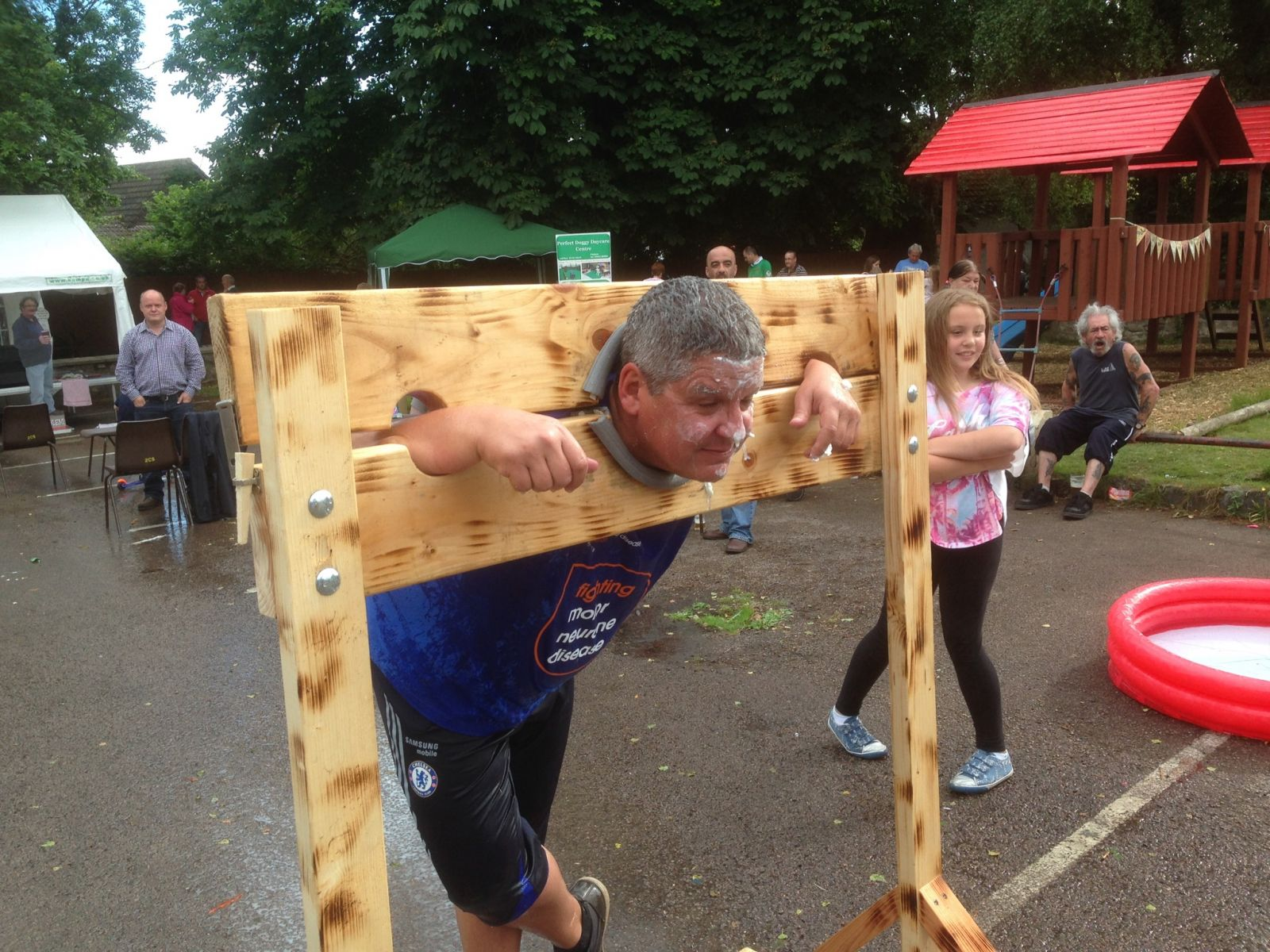 The stocks at The Castle Inn Family fun day